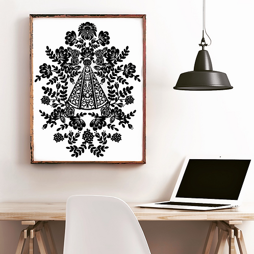 Our Lady Black and White Poster