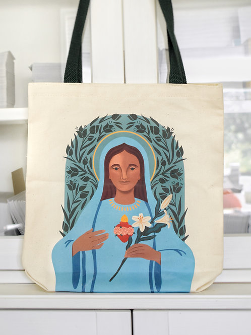 Sacred Heart of Jesus and Immaculate Heart of Mary Tote Bag