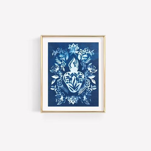 Cyanotype Chaste Heart Print