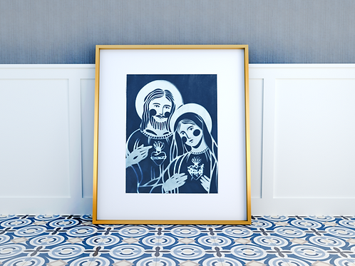 Cyanotype Mary and Jesus Print