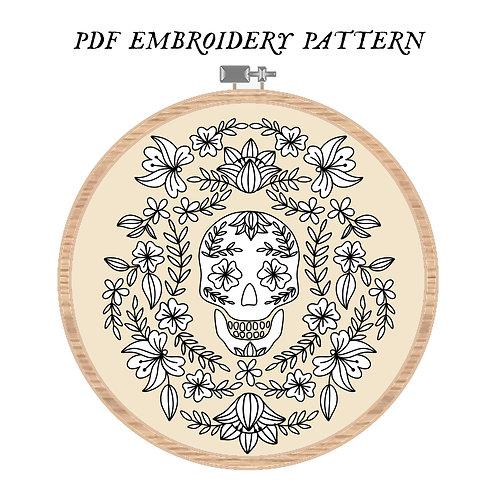 Floral Momento Mori Embroidery Pattern PDF