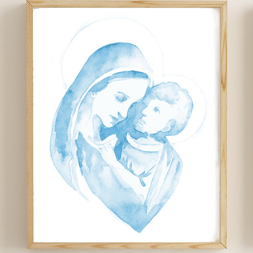 Mary and Jesus Watercolor Print (Set of 2) | Digital Download