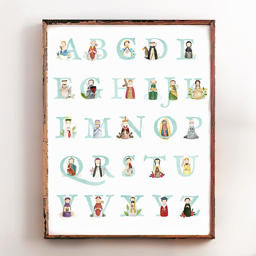 Alphabet Saints Poster | Gender Neutral