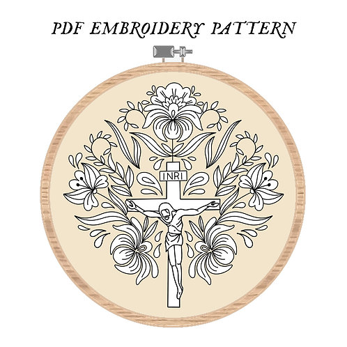 Floral Crucifix Embroidery Pattern PDF