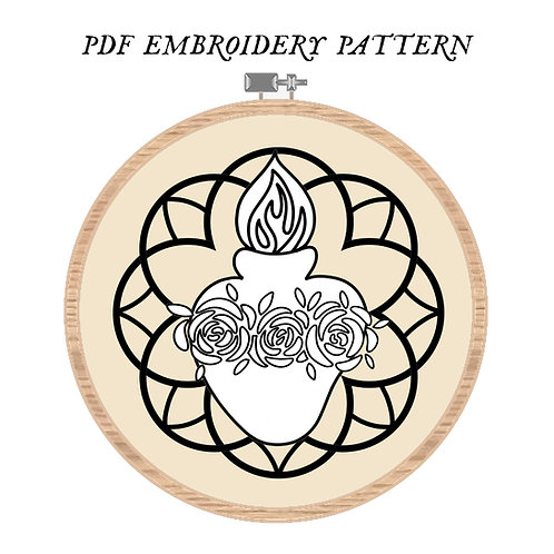 Immaculate Heart Embroidery Pattern PDF