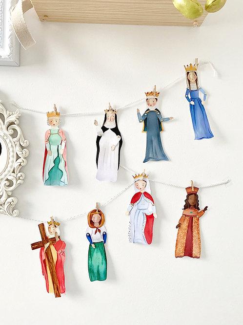 Princess Saints Paper Puppets