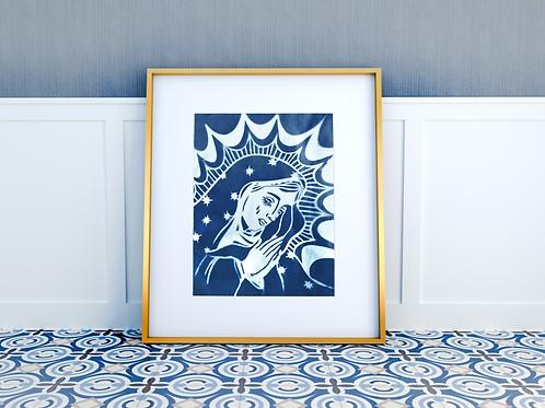 Cyanotype Madonna Print