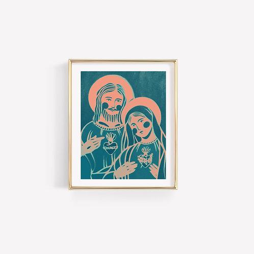Mary and Jesus Sun Print