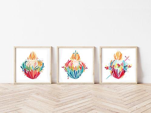 Wholesale Splashy Holy Family Heart Prints