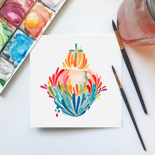 Splashy Watercolor Sacred Heart Print
