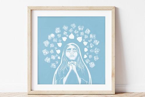Sorrowful Mary Print in Sky