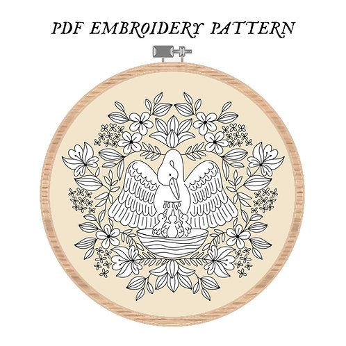 Pelican In Piety Embroidery Pattern PDF