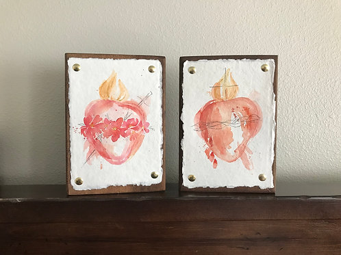 Watercolor Sacred and Immaculate Hearts   Digital Download