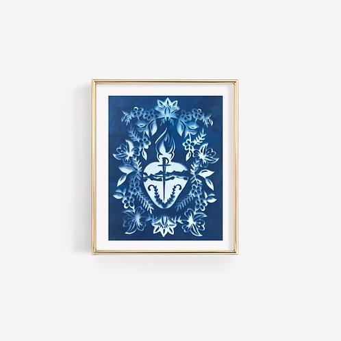 Cyanotype Sacred Heart Print