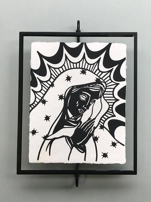 8x10 Guadalupe Madonna  on Handmade Paper