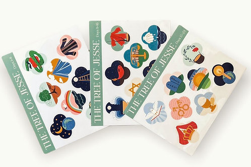 PREORDER Wholesale Jesse Tree Window Clings and Book | Set of 4