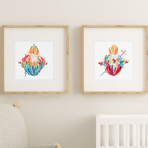 Wholesale Splashy Watercolor Immaculate and Sacred Heart Prints