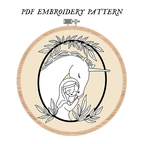Mary with Unicorn Embroidery Pattern PDF