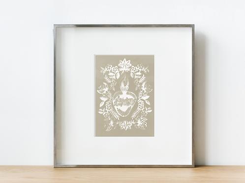 Immaculate Neutral Heart Sun Print
