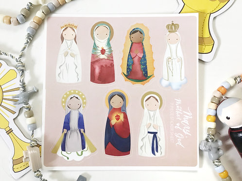 Mary, Mother of God 7 piece Sticker Sheet