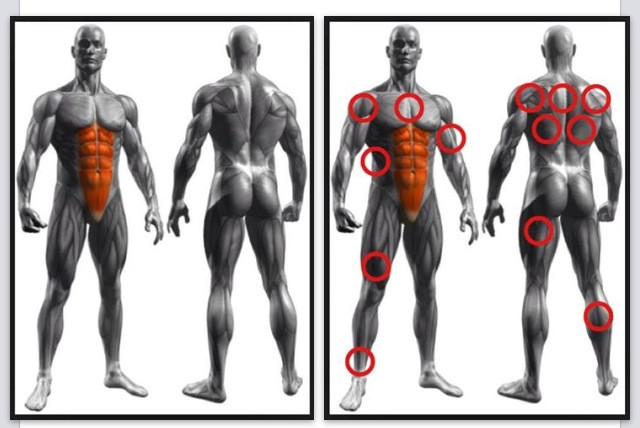 Conventional ab crunch benefits (left) and benefits of the Polykinetics VCC exercise!