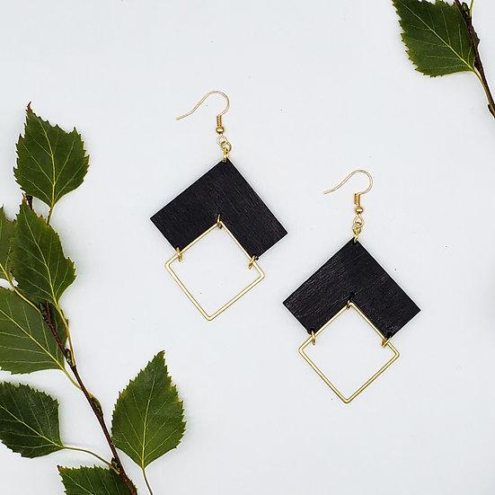 Chevron and Brass Earrings