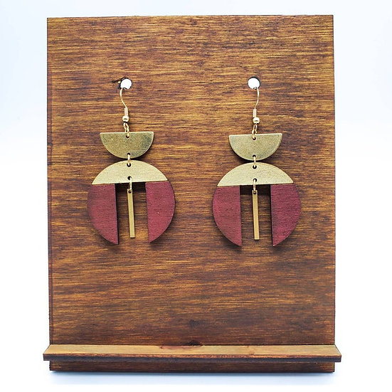 Oxblood Wood and Brass Dangles