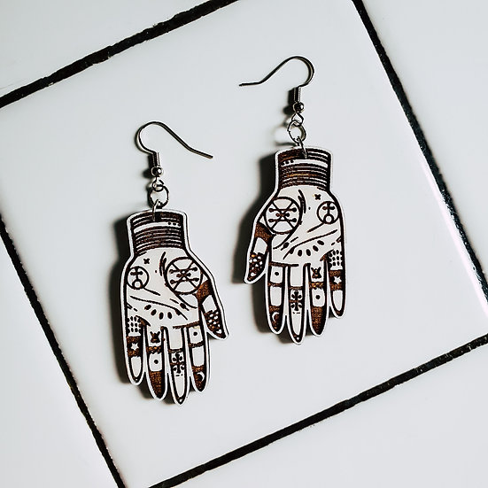 Palmistry dangle earrings
