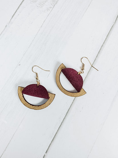 Suede and Birch saddle earrings