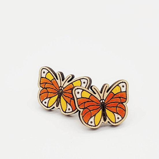 Wooden butterfly earrings