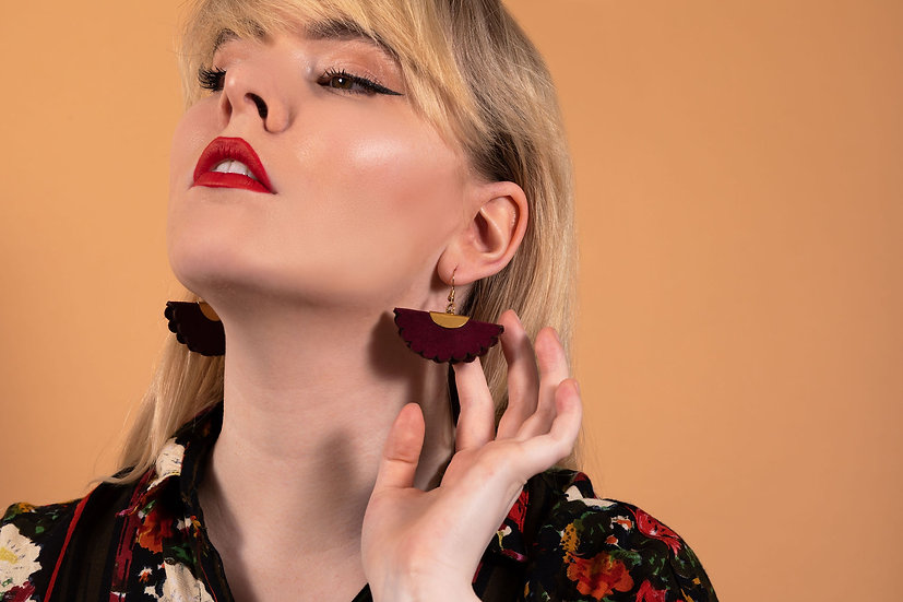 Suede and Brass Dangle earrings