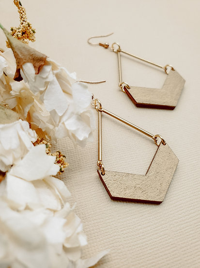 Soft gold chevron drop earrings