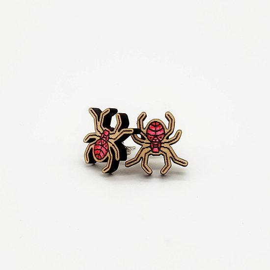 Wooden spider earrings