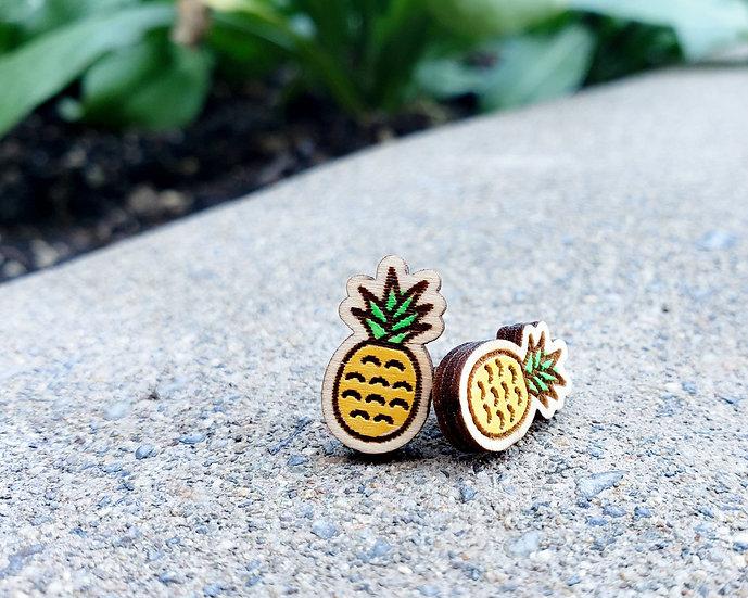 Miniature pineapple stud earrings