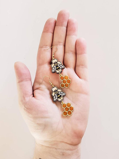Honeycomb Bee Earrings