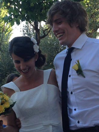 Picture of a young couple getting married in Spain.  I created their wedding stationery in Belfast, Northern Ireland