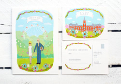 Portrait wedding invite and RSVP