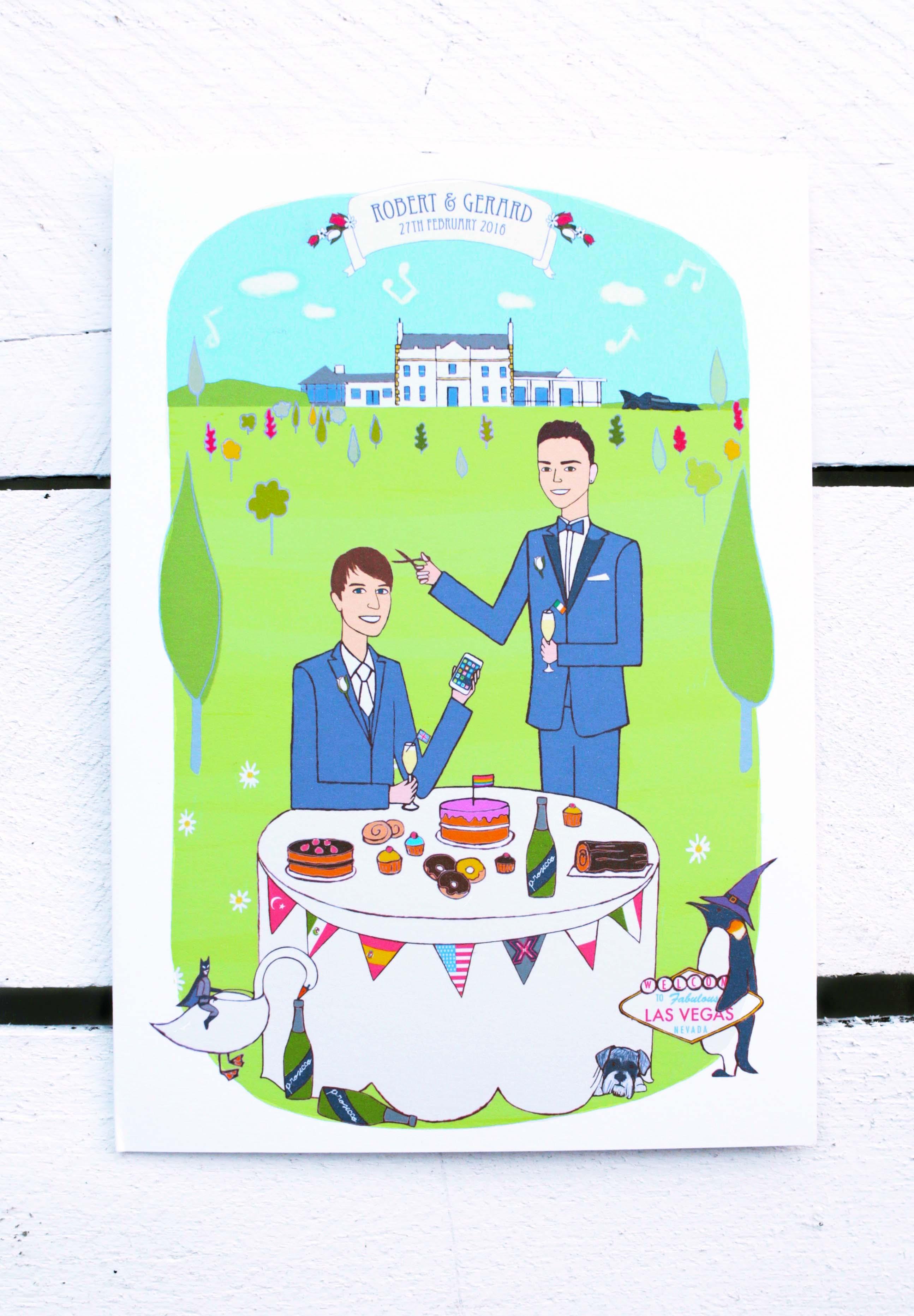 Gay couple wedding invitation