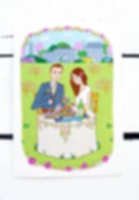 Wedding Stationery created in Northern Ireland.  This shows a caricature of the bride and groom for their wedding invite.  It tells the story of how they met and their interests.  Their wedding venue of The Millhouse at Slane can be seen in the background.