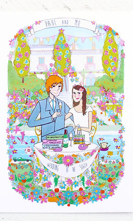 Caricature wedding invitation made in Northern Ireland.  This image shows the bride and groom in front of their wedding venue of a Spanish Villa. This wedding stationery was created in Northern Ireland