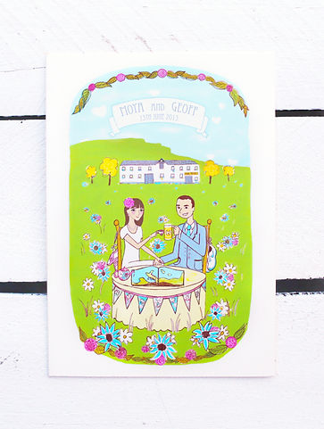 Wedding Invitation created by Dee Tyndall in Belfast.  This illustrated wedding invitation shows a caricature of the bride and groom with their wedding venue, Hilden Brewery, in the background.  The rest of the invitation highlights their various hobbies.  It is a custom portrait and caricature.