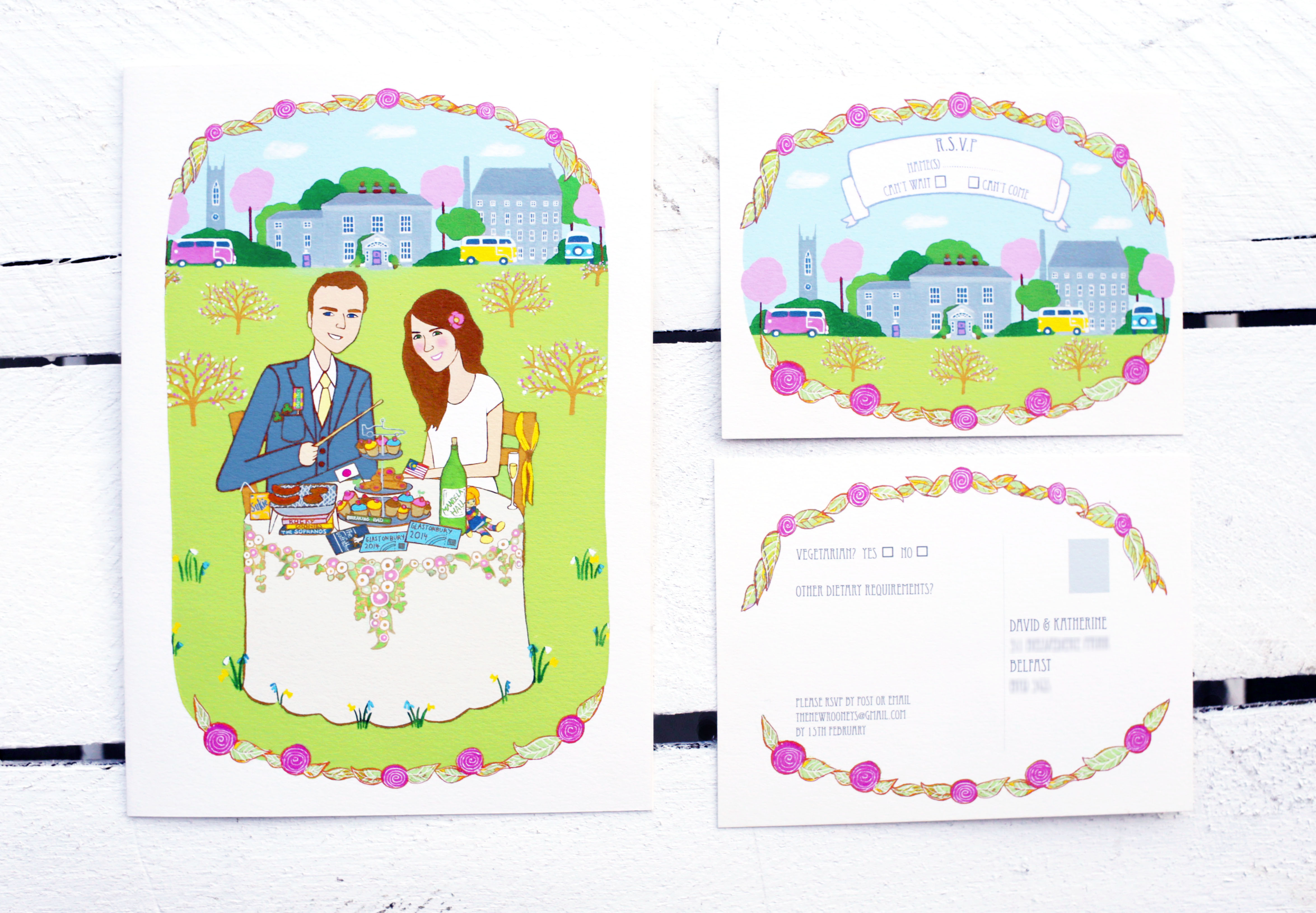 Wedding stationery Illustration set
