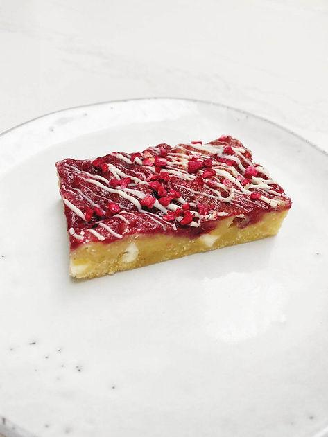 Raspberry and White Chocolate blondie 3
