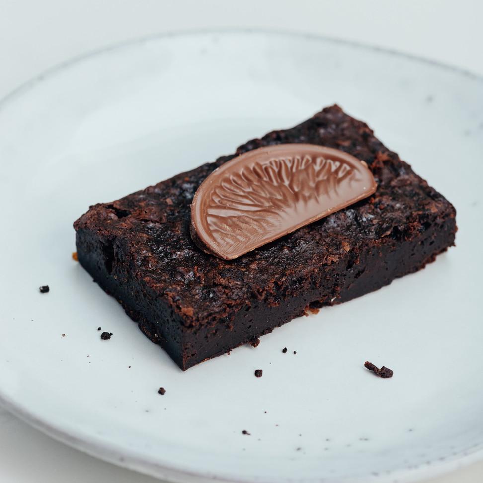 Terrys chocolate orange brownie on a plate