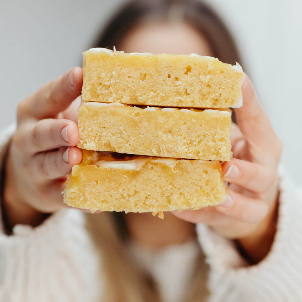 Home made lemon blondies, by scrumptiousbylucy, ready for letterbox delivery.
