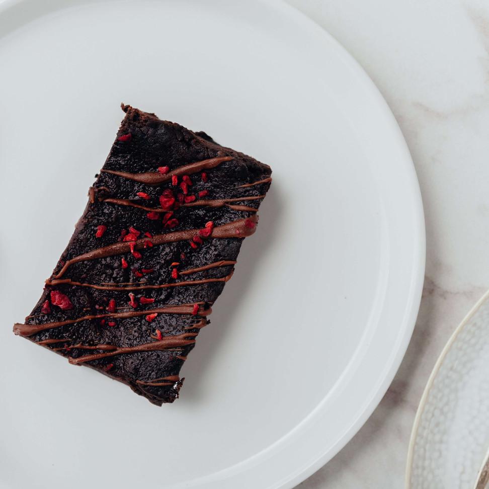 Vegan GF Chocolate and Rasberry brownie