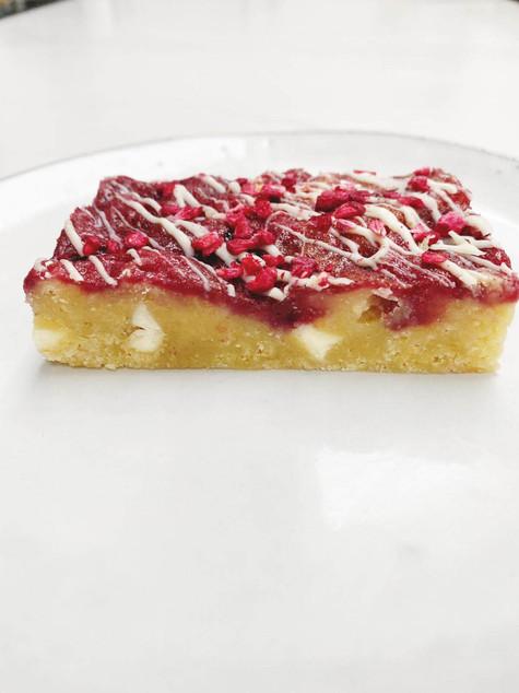 Raspberry and White Chocolate blondie, Scrumptiousbylucy.com