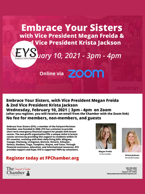 Fairport-Perinton Chamber of Commerce Zoom meeting with Embrace Your Sisters 2/10/21