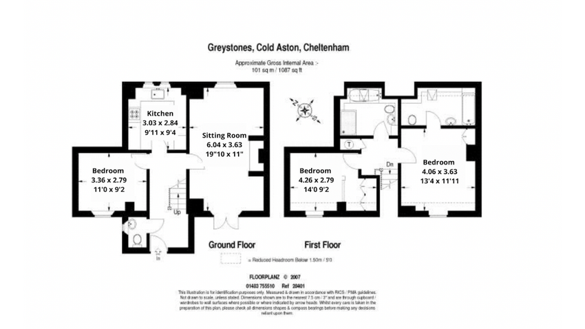 Floorplan at Greystones Cottage in Cold Aston, Cotswolds Holidays.
