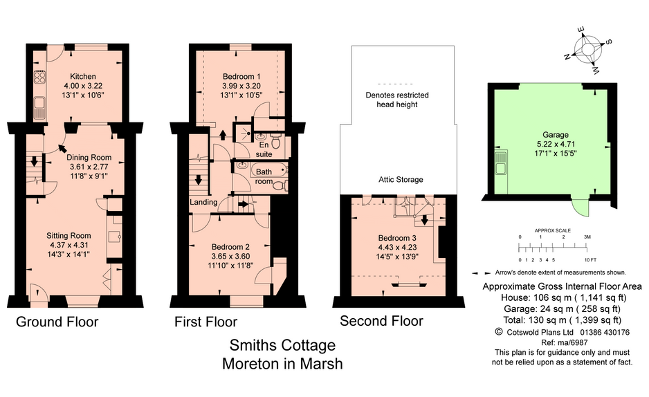 Floor plan Magnolia Cottage at Moreton-in-the-Marsh, Cotswolds Holidays